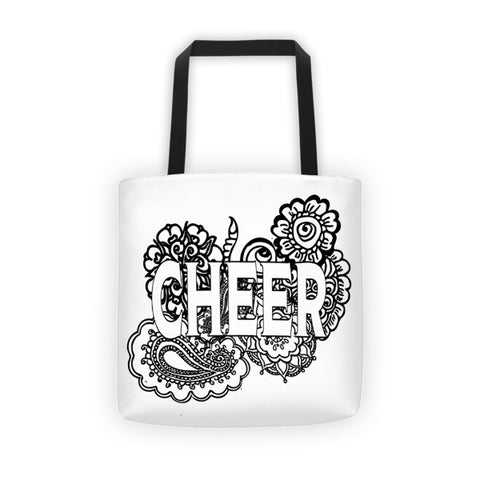 Cheer Doodle Color Your Own   Tote Bag