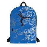 Male Figure Skater Design Backpack-on Blue and Silver Graphic