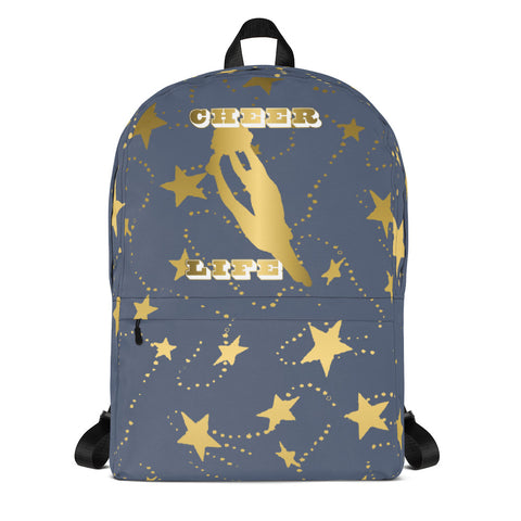 Cheer Life Silhouette in Gold with Gold Stars- Style 14- Backpack-Great for Teams and Squads
