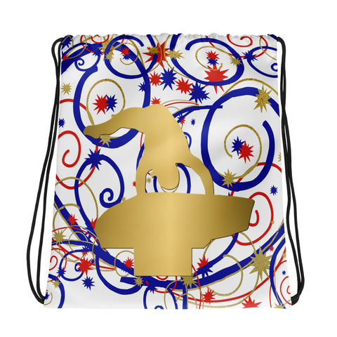 Gymnastics Vault Swirls and Stars Drawstring Bag-Great for Teams