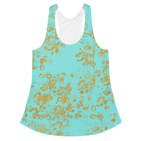 Aqua and Gold Flakes Women's Racerback Tank