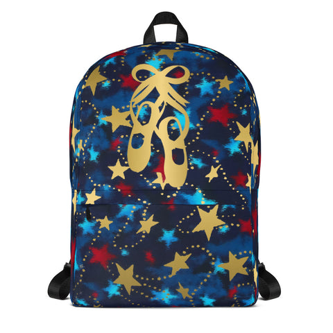 Ballet Shoes- Patriotic with Gold Stars -Backpack- Perfect for Teams can be Customized