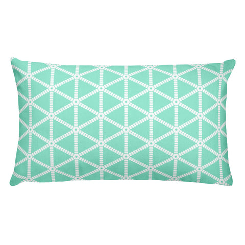 Mint with White Grid Pattern Rectangular Throw Pillow