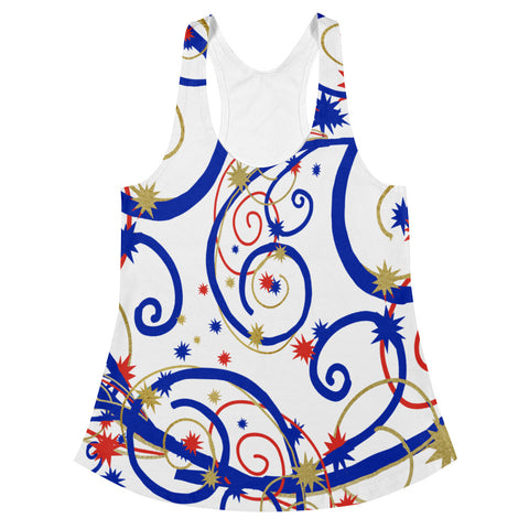 Swirls and Stars - Women's Racerback Tank in Red, White, and Blue