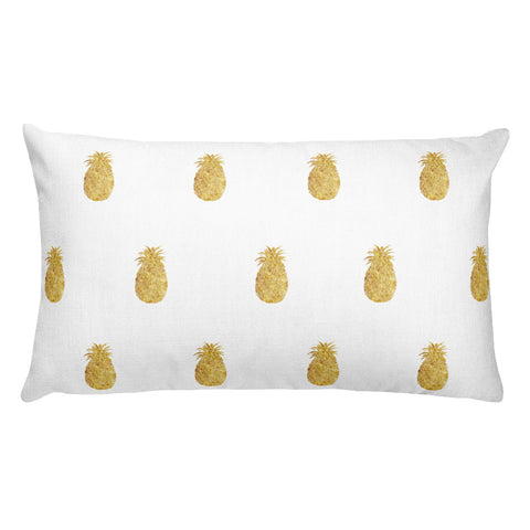 Gold Pineapple Rectangular Throw Pillow
