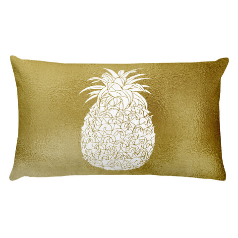 Gold Large White Pineapple Rectangular Throw Pillow