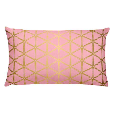 Millennial Pink and Gold Rectangular Pillow