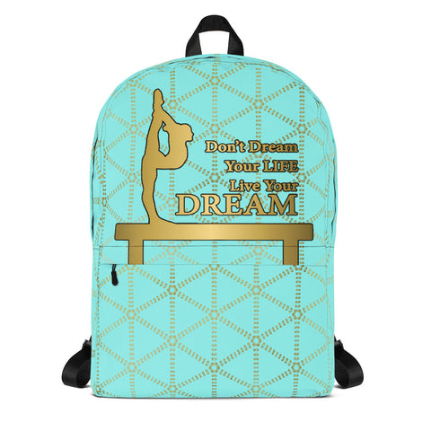 Gymnastics Live your Dream in Aqua and Gold Grid- Backpack- Perfect bag for teams