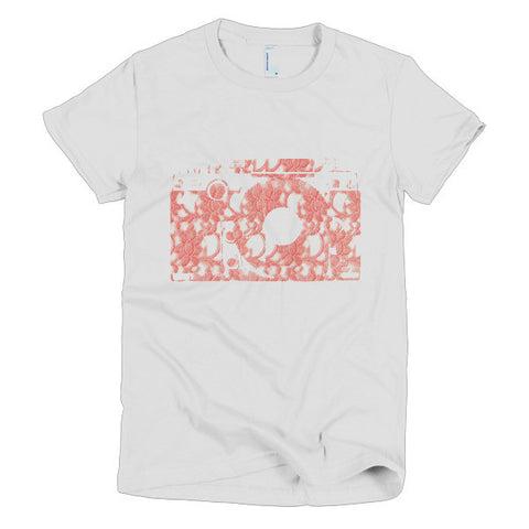 Lace Camera Logo Design Short Sleeve Women's T-shirt