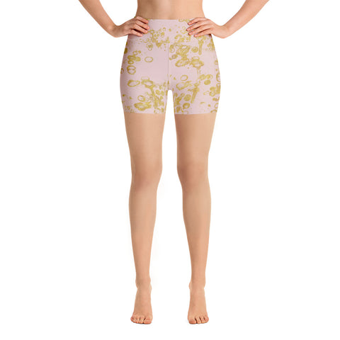 Pink and Gold Flake Women's Yoga Shorts