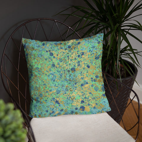 Blue and Gold Patina Throw Pillow