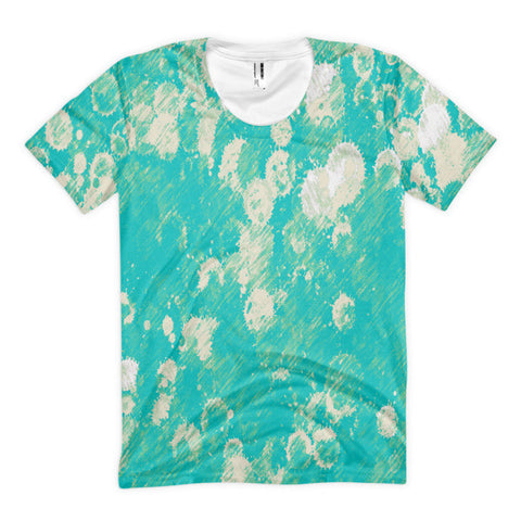Turquoise Paint Splatter Women's Sublimation T-shirt