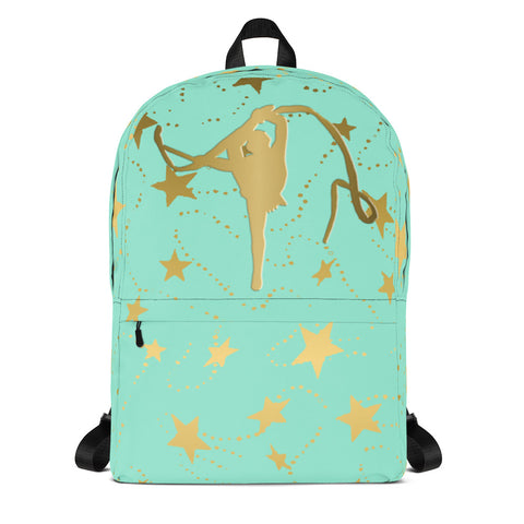 Rhythmic Gymnastics Mint with Gold Stars -Backpack- Perfect for Teams can be Customized
