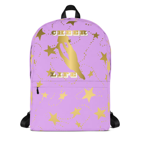 Cheer Life Silhouette in Gold with Gold Stars- Style 12- Backpack-Great for Teams and Squads