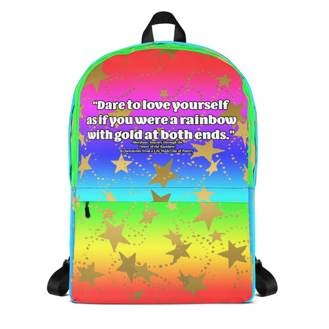 Dare to Love Yourself Style 2 Backpack in Rainbow Gradient with Gold Stars