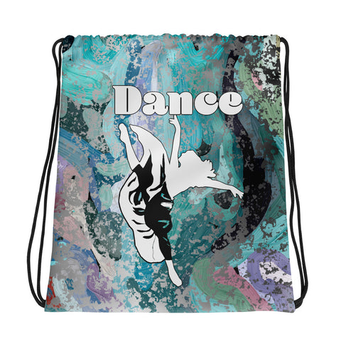 Dancer Silhouette on Abstract Painting Design All-Over Print Drawstring Bag