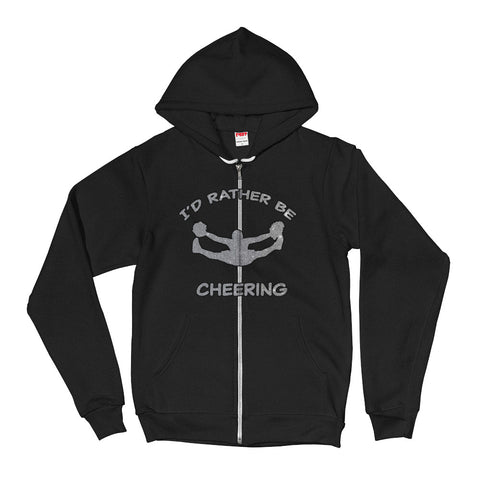 I'd Rather Be Cheering- in Silver Glitter Design- Unisex Zip Up Hoodie-Front and Back Design