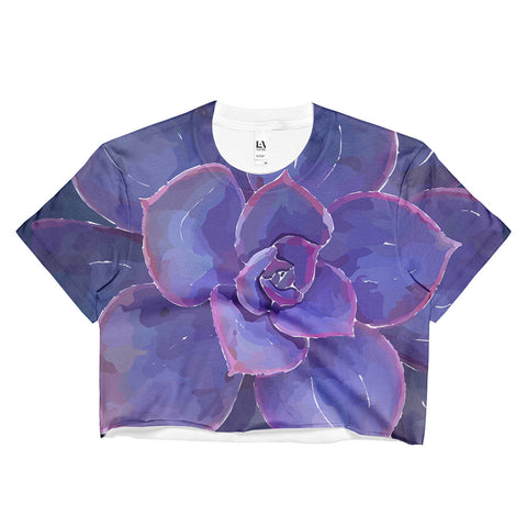 Moody Blues Succulent -by Hxlxynxchxle - Ladies Crop Top