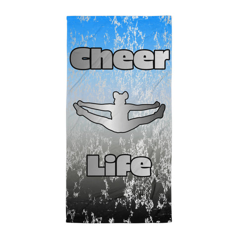 Cheer Life Toe Touch- Beach Towel on Blue to Black Gradient  with Silver Flake Design