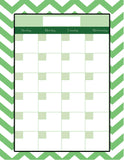 Teachers Planner Pack -Green Chevron 8 Planning Calendar's -Instant Download- Printable PDF**Not Editable**