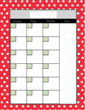 Teachers Planner Pack Red Mini Dots-8 Planning Calendar's -Instant Download- Printable PDF**Not Editable**