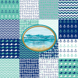 Nautical Themed 16 Page- Printable Digital Paper Design Pack- Instant Download-12 x 12 inch 300 dpi JPEG files