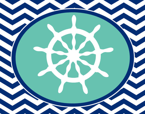 Sail Away- Chevron Wall Art Prints- With many Variations
