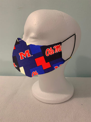 Face Masks Washable- Mississippi-Ole Miss Block Fabric- 100% Cotton-Adult and Children's Sizes- Adjustable Elastic or Ear Loops Options