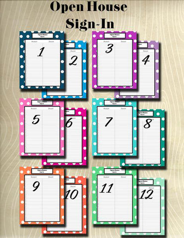 Open House Sign In Sheet- Teacher Planning Collection-Instant Download