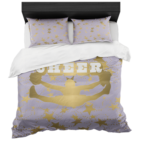 Cheer Silhouette With Stars in Gold and Light Purple-Duvet -Bed-in-a-Bag- Includes Two Pillow Shams