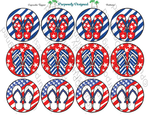 Patriotic Memorial/ 4th of July Flip Flop Silhouette Cupcake Topper Set-Digital Party Supplies