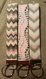 Pink and Grey Collection  Fabric  Key Fob's