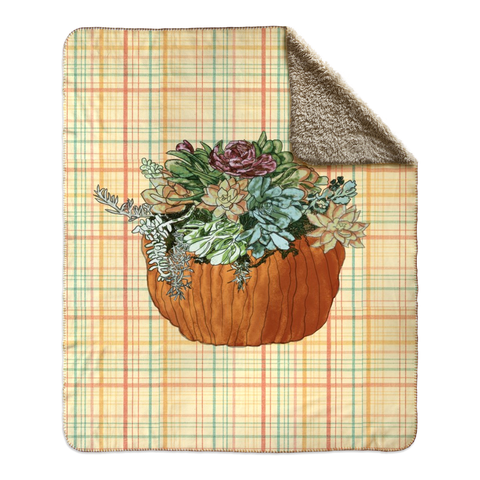 Succulents In Pumpkin on Fall Plaid Fleece Sherpa Blankets