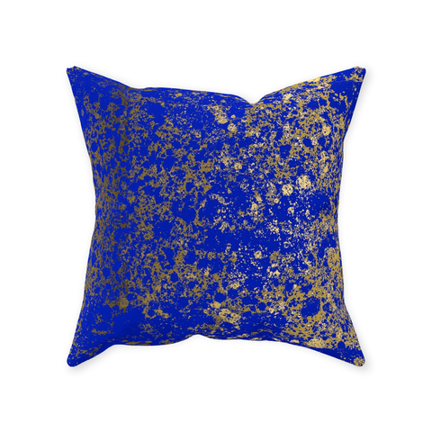 Royal Blue and Gold Patina Design Collection Throw Pillows