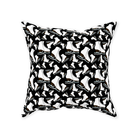 Figure Skates on Black Background Design Throw Pillows