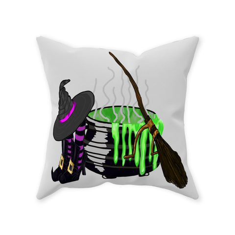 Halloween Witch's Room Graphic Design Throw Pillows