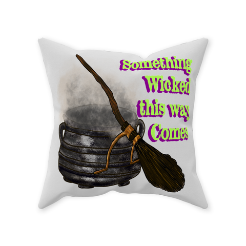 Something Wicked This Way Comes-Halloween Graphic Design Throw Pillows