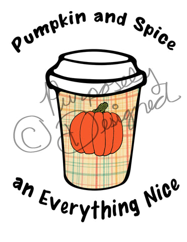 Pumpkin and Spice Coffee Design- Logo Style-Silhouette Print and Cut Design DOWNLOAD