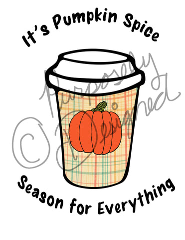Pumpkin Spice Coffee Design- Logo Style-Silhouette Print and Cut Design DOWNLOAD