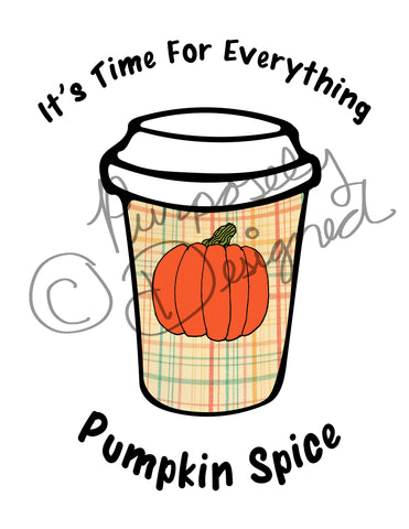 Everything Pumpkin Spice Coffee Design- Logo Style-Silhouette Print and Cut Design DOWNLOAD