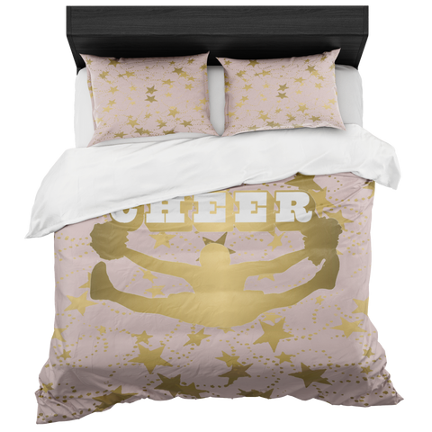 Cheer Silhouette With Stars in Gold and Pale Pink-Duvet -Bed-in-a-Bag- Includes Two Pillow Shams