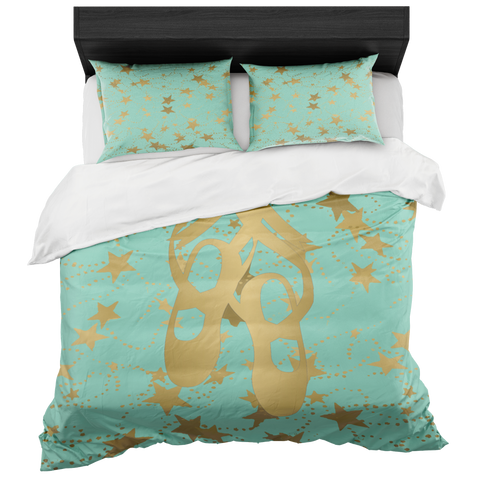 Ballet Shoes Silhouette in Gold with Stars on Mint-Duvet-Style 2- With 2 Pillow Shams