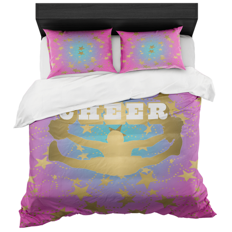 Cheer Silhouette With Stars in Gold and Magenta to Blue Circular Gradient-Duvet -Bed-in-a-Bag- Includes Two Pillow Shams