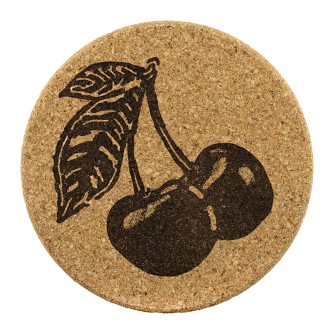 Cherry Cork Coaster Set