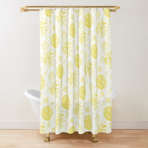 Roses in Illuminating Yellow on White Design Textured Fabric Shower Curtain