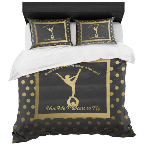 Cheer- I Want to Fly- Gold Dots on Black- Bed in a Bag Duvet Sets with Two Pillow Cases- Style 2