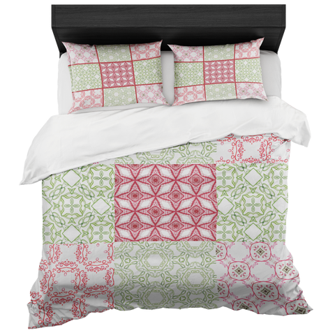 Red and Green Quilted Look Bed in a Bag Duvet Set- Includes 2 Pillow Shams