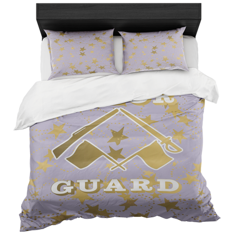 Color Guard Pale Purple and Gold Stars Duvet- Bed-in-a-Bag Set-Includes Two Pillow Shams