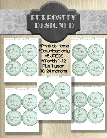 Mint Lace Design -First Year Monthly Baby Stickers, Baby Month Stickers, Milestone Stickers