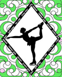 Figure Skater with Skate Moves Art Print Size 16 x 20 inch -Choose from Several Styles